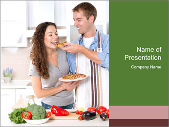 Happy Couple Eating Pizza PowerPoint Templates - Slide 1
