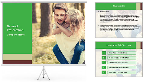 A young couple in love PowerPoint Template