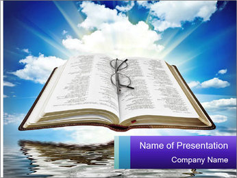 Bible with blue sky PowerPoint Template