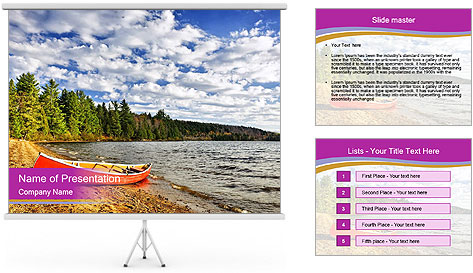 Red canoe on beach PowerPoint Template