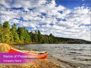 Red canoe on beach PowerPoint Templates