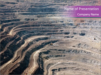 Close up of quarry extracting iron PowerPoint Template