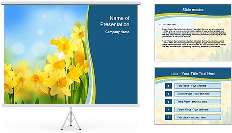 Yellow narcissuses PowerPoint Template