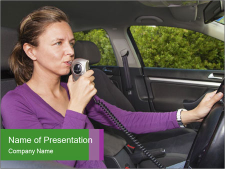 Woman in car PowerPoint Templates