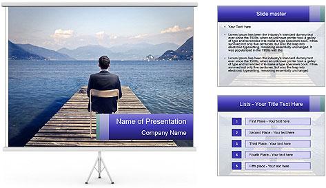 Businessman Sitting on Pier PowerPoint Template