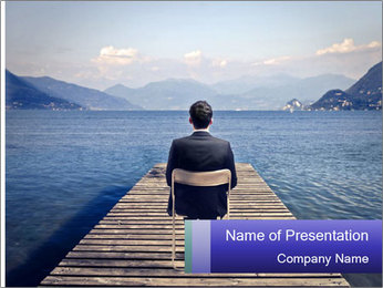Businessman Sitting on Pier PowerPoint Template - Slide 1