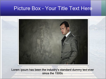 Businessman Sitting on Pier PowerPoint Template - Slide 16