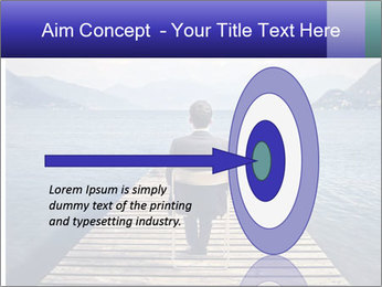 Businessman Sitting on Pier PowerPoint Template - Slide 83