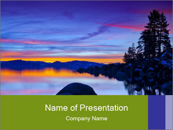 Lake Tahoe Sunset PowerPoint Templates - Slide 1