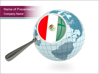 Magnified flag of mexico PowerPoint Template