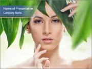 Beautiful girl and green leaves PowerPoint Templates