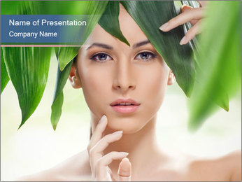 Beautiful girl and green leaves PowerPoint Template - Slide 1