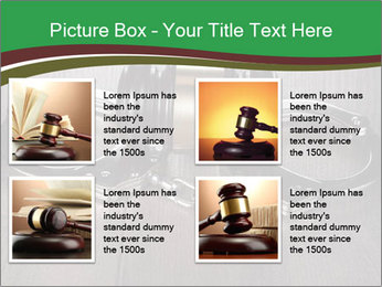 Handcuffs and judge gavel on brown wooden PowerPoint Templates - Slide 14