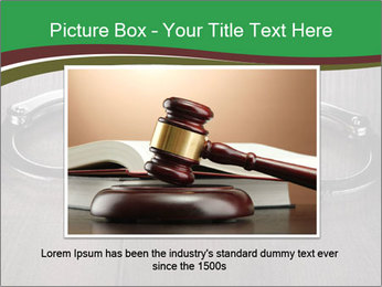 Handcuffs and judge gavel on brown wooden PowerPoint Templates - Slide 15