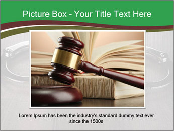 Handcuffs and judge gavel on brown wooden PowerPoint Templates - Slide 16