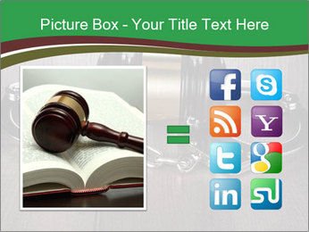 Handcuffs and judge gavel on brown wooden PowerPoint Templates - Slide 21