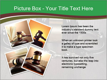 Handcuffs and judge gavel on brown wooden PowerPoint Templates - Slide 23