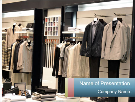 Fashion clothing on hangers PowerPoint Template