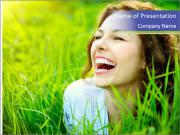Beautiful Young Woman Outdoors PowerPoint Templates
