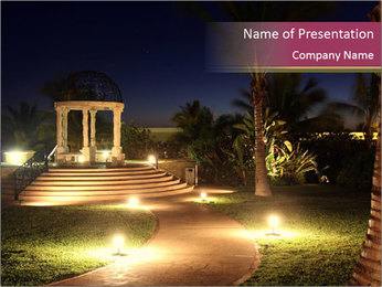 Gazebo at Night PowerPoint Template - Slide 1