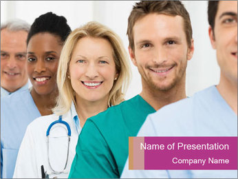 Group Of Happy Successful Doctors PowerPoint Template - Slide 1