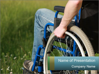 Close up of a man in a wheelchair PowerPoint Template - Slide 1