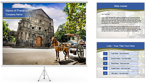 Horse Drawn Carriage parking PowerPoint Template