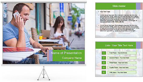 Woman with cell phone and the man with laptop PowerPoint Template