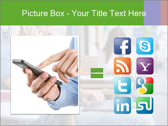 Woman with cell phone and the man with laptop PowerPoint Templates - Slide 21