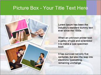 Woman with cell phone and the man with laptop PowerPoint Templates - Slide 23