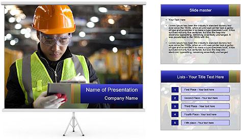 Industrial engineer writing PowerPoint Template