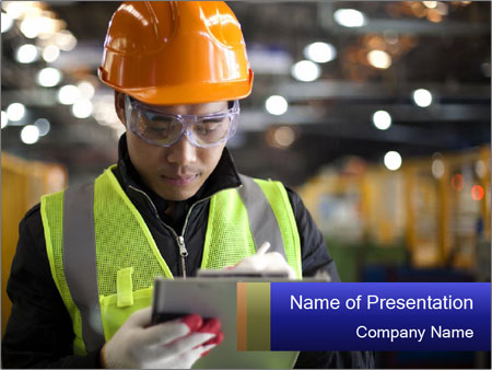 Industrial engineer writing PowerPoint Templates