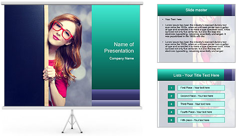 Redhead student PowerPoint Template