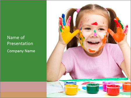 Portrait of a cute cheerful girl PowerPoint Template