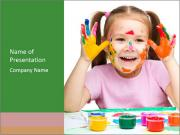 Portrait of a cute cheerful girl PowerPoint Templates