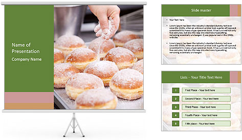 Baker pours sugar over pastry PowerPoint Template