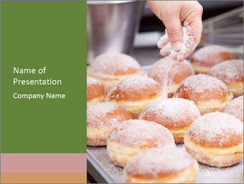Baker pours sugar over pastry PowerPoint Template - Slide 1