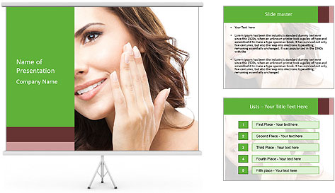 Woman Touches Face PowerPoint Template