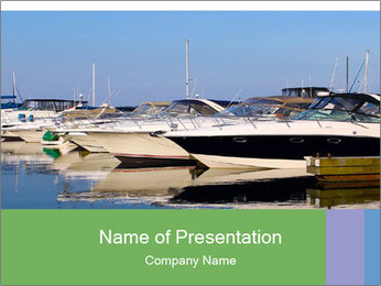 Pier And Motorboats PowerPoint Template - Slide 1