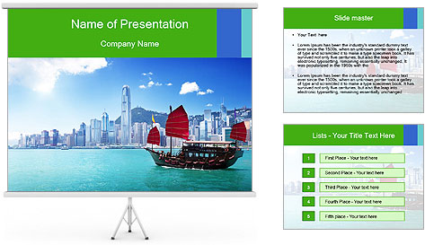 Cityline And Wooden Boat PowerPoint Template