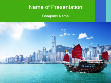 Cityline And Wooden Boat PowerPoint Templates
