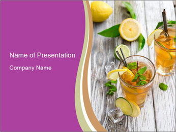 Glass of ice tea with ice-cubes PowerPoint Template