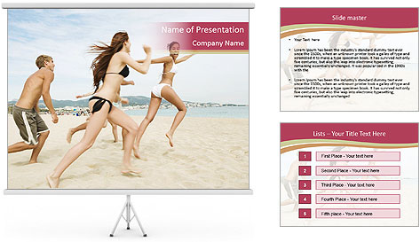 Group of five friends running together PowerPoint Template