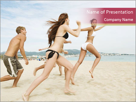 Group of five friends running together PowerPoint Templates