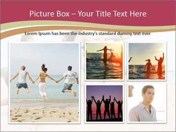 Group of five friends running together PowerPoint Template - Slide 19