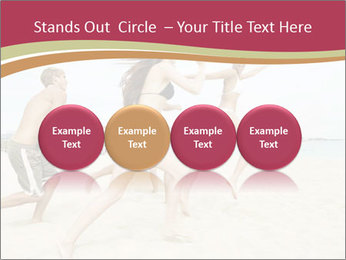 Group of five friends running together PowerPoint Template - Slide 76
