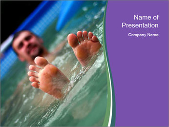 View of bare male feet at swimming pool PowerPoint Template - Slide 1