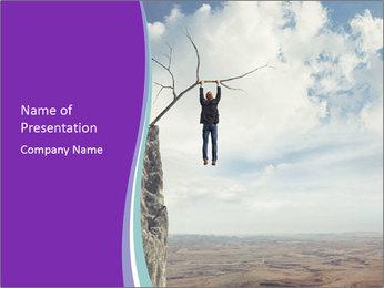 Business man climbs PowerPoint Template