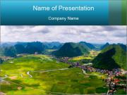 Rice field in valley PowerPoint Template