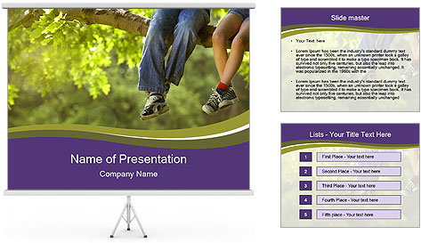 Low section of little boy and girl relaxing PowerPoint Template